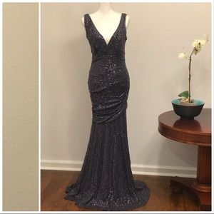 Calvin Klein Charcoal Lace Sequin Mermaid Gown